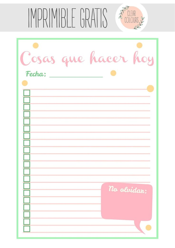 clear colours: Free printables: To do list