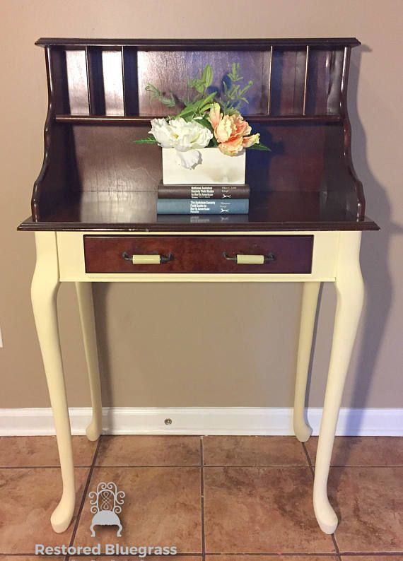 Secretary desk small spaces chalk painted legs dark wood top farmhouse style