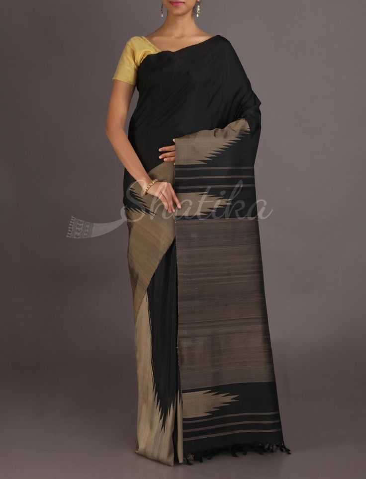 Rohini Ravishing Black Towering Temple Border #JuteSilkSaree