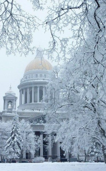 Winter in St. Petersburg, Russia. St. Isaac's Cathedral.