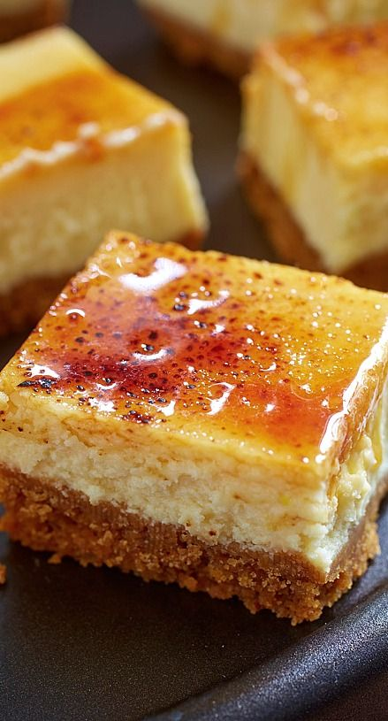 Creme Brulee Cheesecake Squares- Super dessert idea.