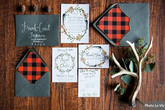 Woodsy Rustic Wedding Invitation Set, with Invitations & RSVP Cards, hippie chic rustic wedding, flannel plaid paper lined envelopes