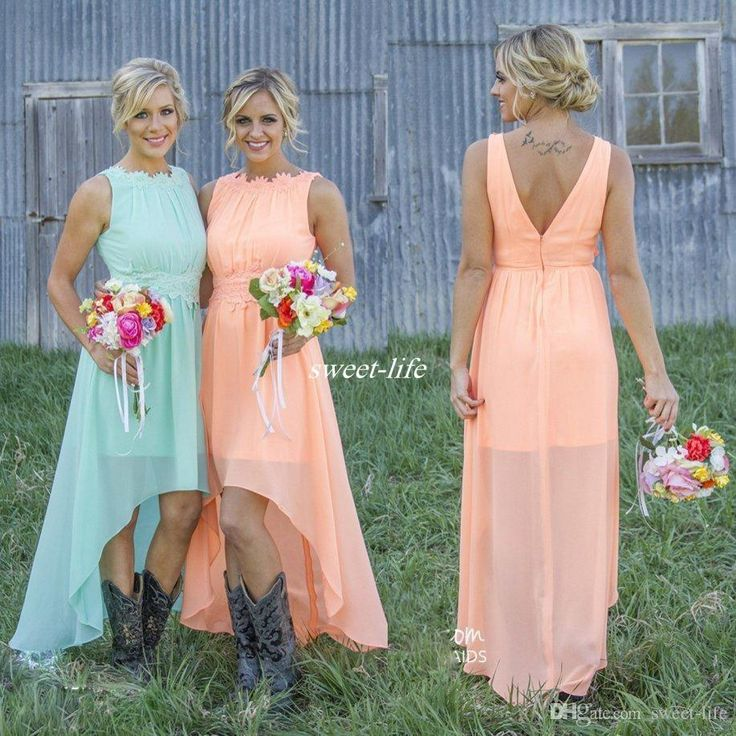 Romance High Low Peach Mint Chiffon Bridesmaid Dresses 2016 Jewel Neck Lace Applique Cheap Western Wedding Guest Maid of Honor Party Gowns Online with $70.5/Piece on Sweet-life's Store | DHgate.com