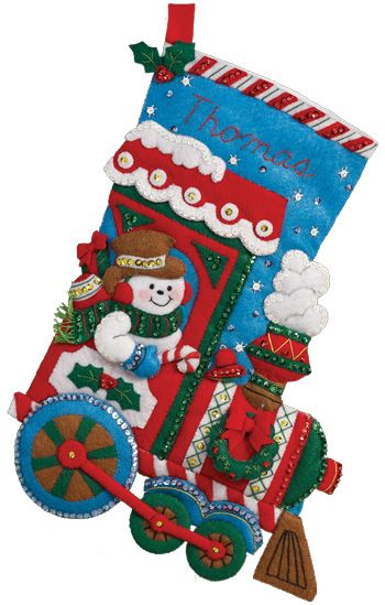 """16"""" Bucilla stocking kit 2013 special release. Kit is called """"All Aboard"""" and MerryStockings has it on sale at $12.99."""
