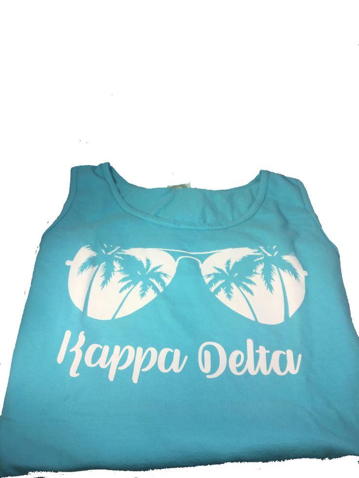 Kappa Delta Sorority Sunglass Tank Top- Lagoon Blue - Brothers and Sisters' Greek Store