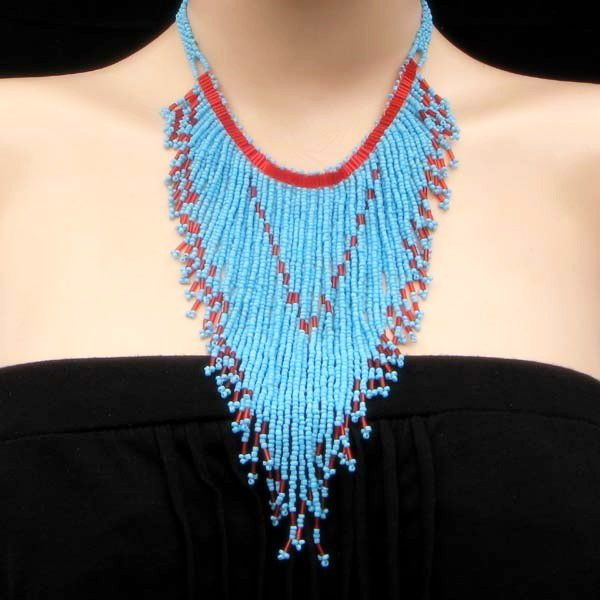 Turquoise Blue Red Seed Beaded Long Bib Necklace Earrings Set