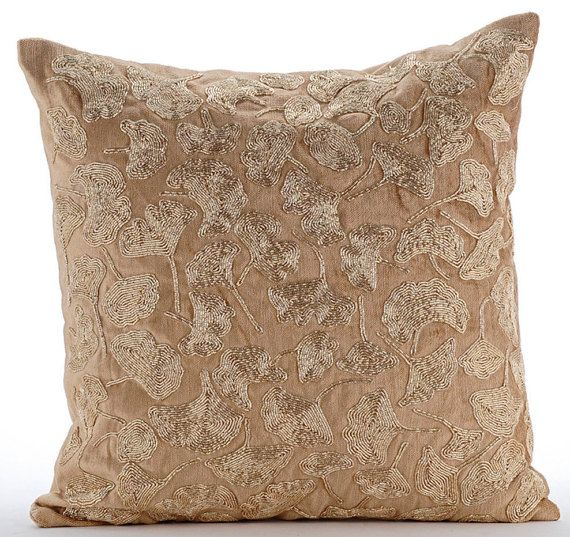 Gold Decorative Pillow Cover 16x16 Velvet Pillow by TheHomeCentric