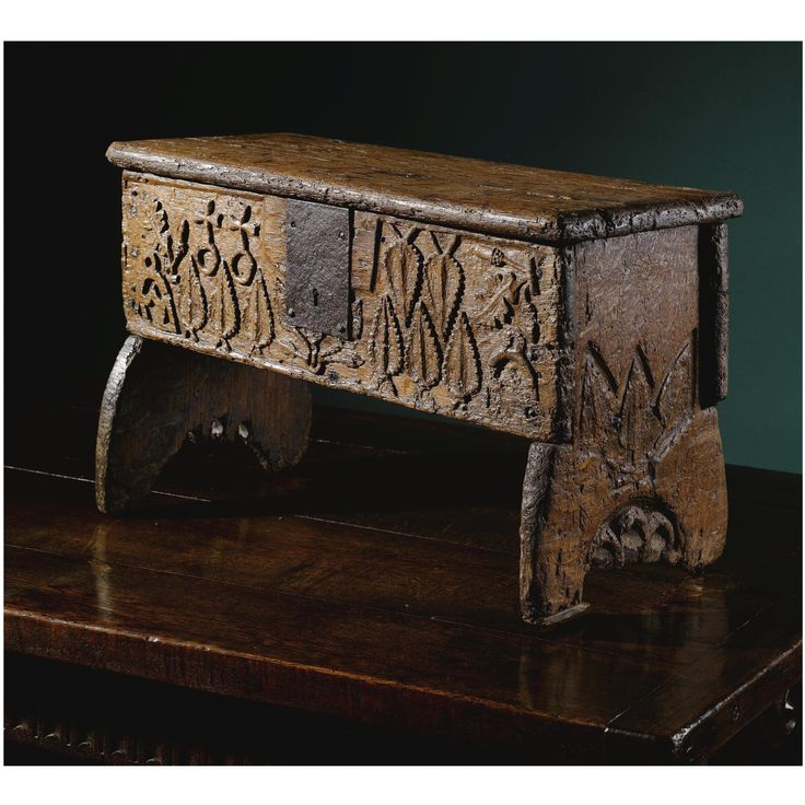 THE U0027ALCHEMISTSu0027 CHEST A Rare And Small Medieval Carved Oak Boarded Chest  15th/