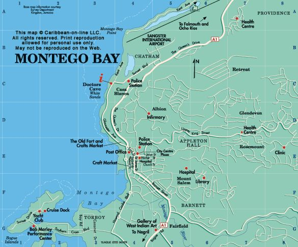 Map of Montego Bay, Jamaica from Caribbean-On-Line