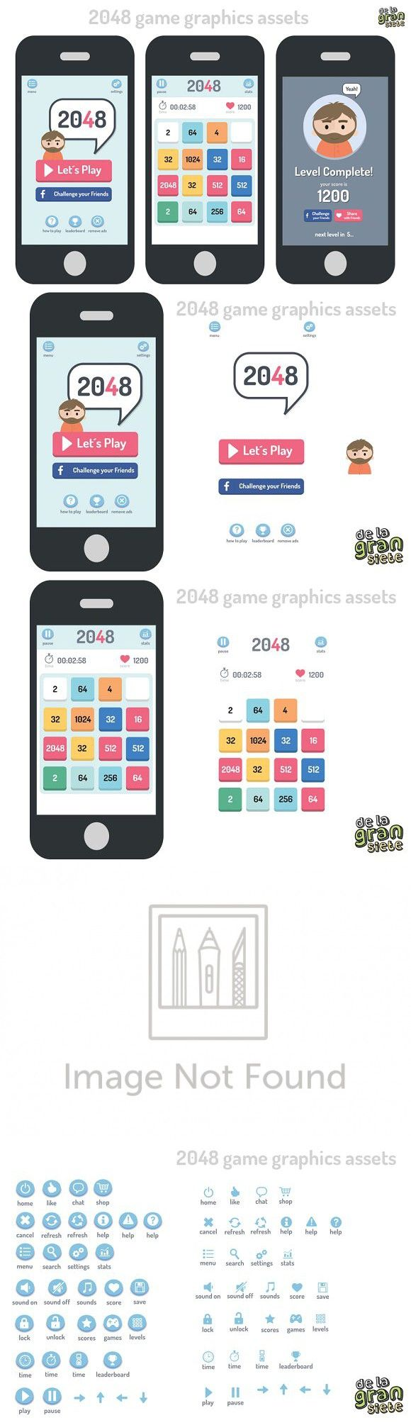 2048 Game Style Gui Assets. UI Elements