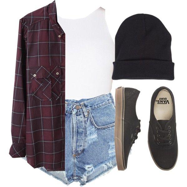 light denim cut-off high-waisted shorts + plum plaid flannel shirt + white tank top + black vans + black beanie