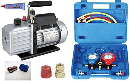 Set Climatisation Automotive – Pompe à vide TÜV + manifold + tuyaux, 50lt, R410a R404a R134a R22: '-Nouvelle analyseur froid dans un…