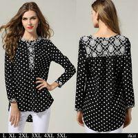 Blusa de chifón con lunares Ropa de talla grande Camiseta de manga larga con patrones floridos vintage para mujer L-5XL