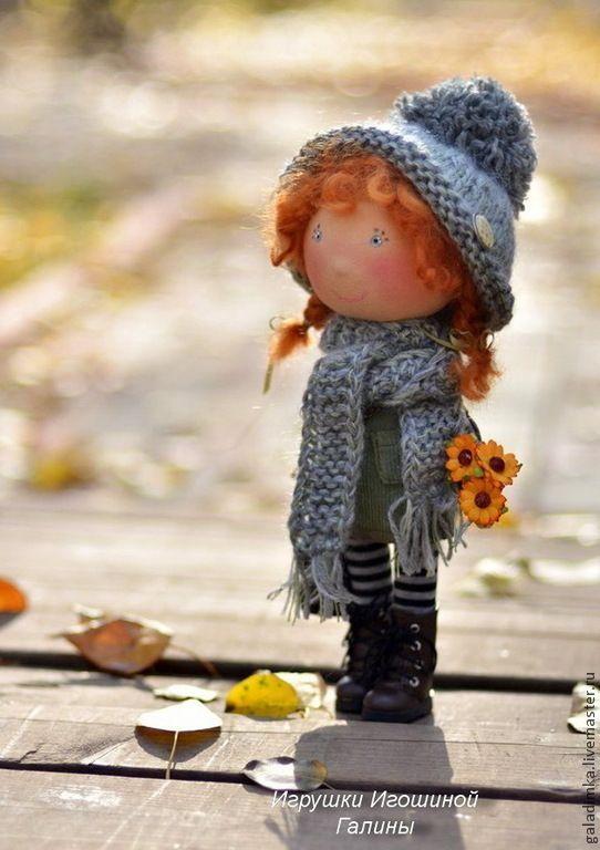 Купить Рыжее чудо))) - рыжий, рыжулька, текстильная кукла, интерьерная кукла, шапка, шарф, подарок