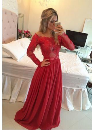 USD$169.00 - Gorgeous Long Sleeve Lace Prom Dress Long Chiffon Evening Gowns - www.27dress.com
