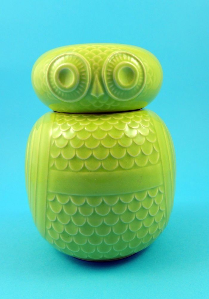 Vintage Hornsea Pottery Owl Storage Jar in Lime Green by John Clappison