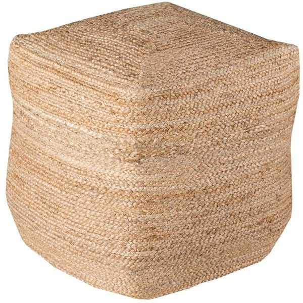 Surya Taupe Jute Ottoman Pouf (4.565 RON) ❤ liked on Polyvore featuring home, furniture, ottomans, beige, cream furniture, surya, patterned ottoman, beige ottoman and antique white furniture