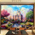 Atacado Rainbow Castelo cenário sofá fundo papel de parede 3d mural de fotos papel de parede para o quarto das meninas 3d pintura mural da parede do vinil ao ar livre