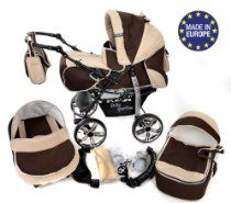 3-in-1 Travel System with Baby Pram, Car Seat, Pushchair & Accessories, Brown & Beige