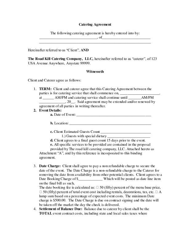 Service Agreement Samples template Pinterest Template - sample catering proposal template