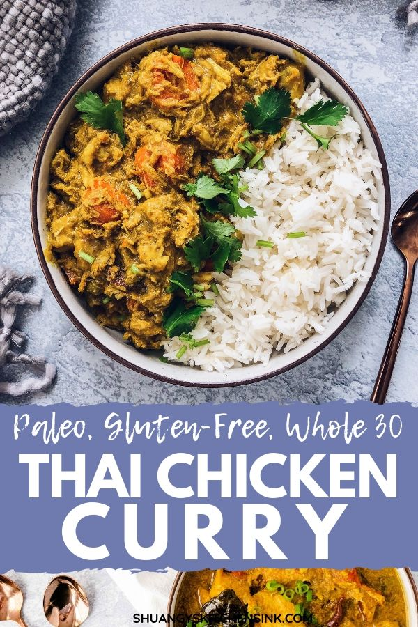 This Easy Crockpot Thai Coconut Curry Chicken is Paleo, Whole30, gluten-free and dairy-free. It makes an easy and delici…