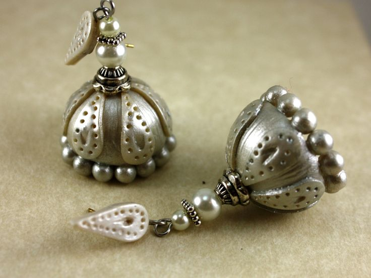 Handmade polymer clay jhumkas /silver and pearl jhumkas. by ethnicekkacreations on Etsy https://www.etsy.com/listing/212047719/handmade-polymer-clay-jhumkas-silver-and