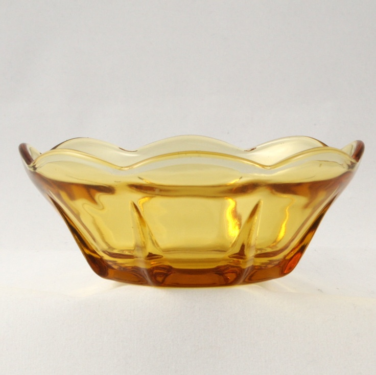 Swedish Modern Dessert Bowl Gold Amber Vtg Anchor Hocking
