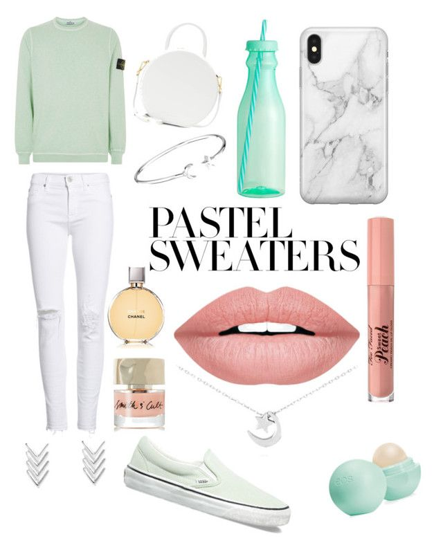 """""""Pastel spring"""" by tinydancer04 on Polyvore featuring STONE ISLAND, Hudson Jeans, Vans, Mansur Gavriel, Alex and Ani, Recover, H&M, Eos, Chanel and Too Faced Cosmetics"""