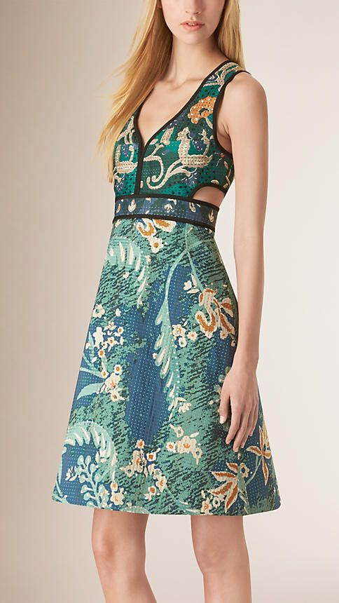 Sea green Floral Cotton Silk A-line Dress - Image 1