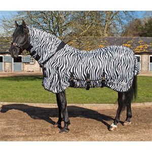 The Rhinegold Zebra Print Combo Fly Rug is a soft mesh fly rug with an  intregrated