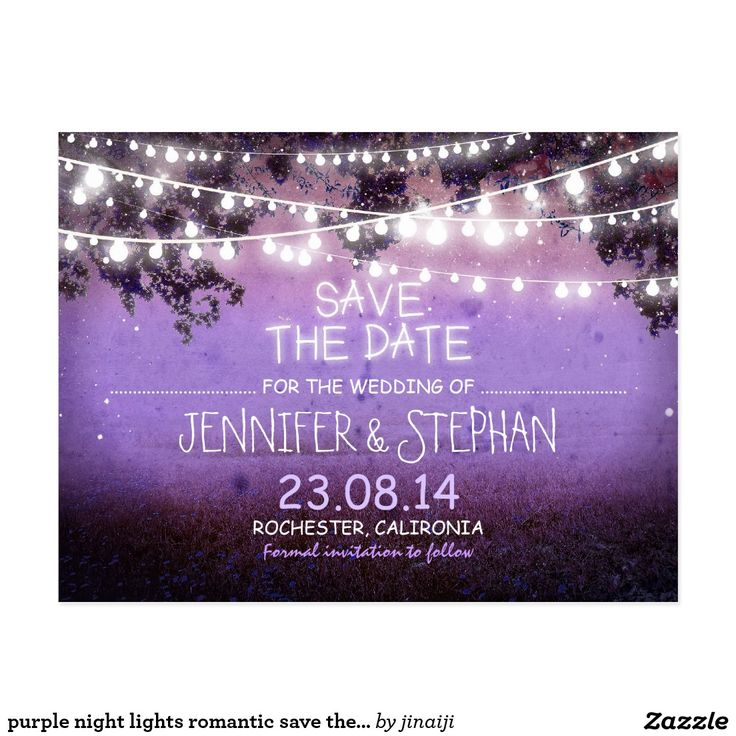 purple night lights romantic save the date postcard Rustic save the date postcards with purple vintage night landscape and garden lights design. To change font please push customize it button.