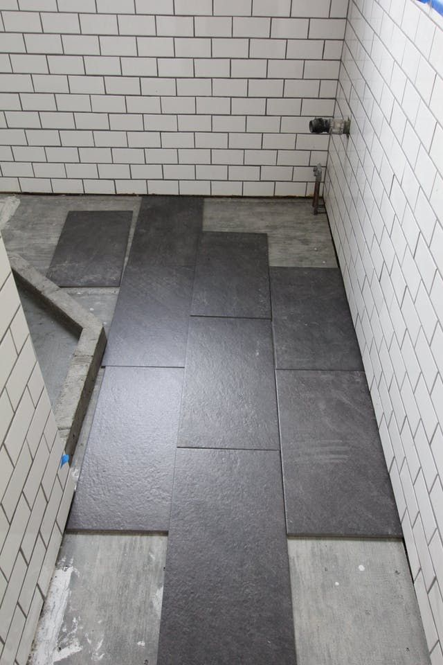 For my bathroom renovation, I finally decided on large slate tiles for the bathroom floor