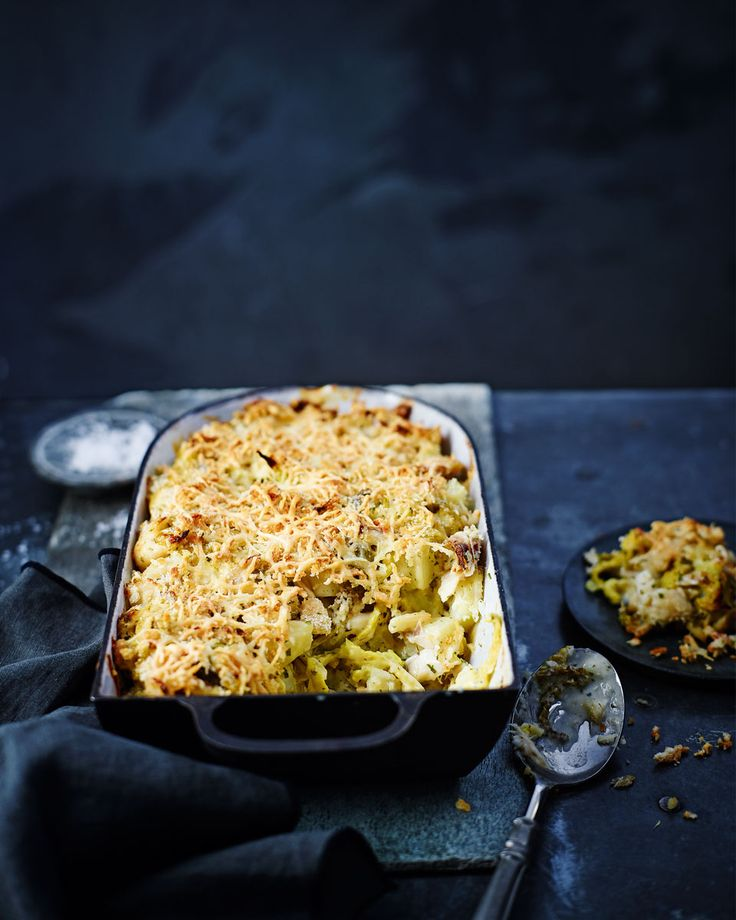 Smoked haddock and savoy cabbage are perfect additions to this creamy potato gratin – a comforting winter recipe.