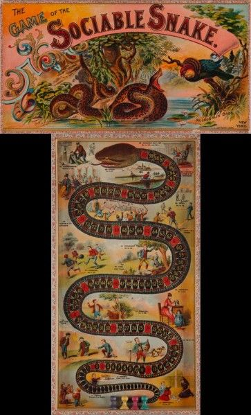 """""""Game of the Sociable Snake"""" ~ 1890 McLoughlin Brothers Board Game"""