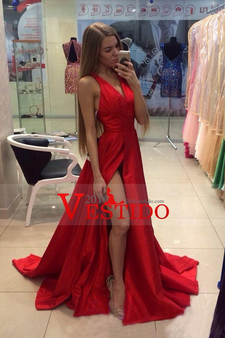 2016 Rojo cuello en V vestidos de noche una línea de tren de barrido con la raja y volantes