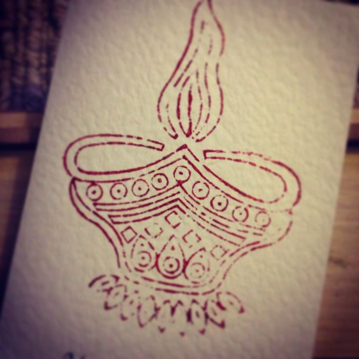 Diwali Diya block printed greeting card.