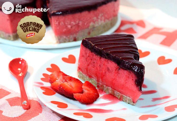 Tarta de fácil de fresas sin horno - Recetasderechupete.com