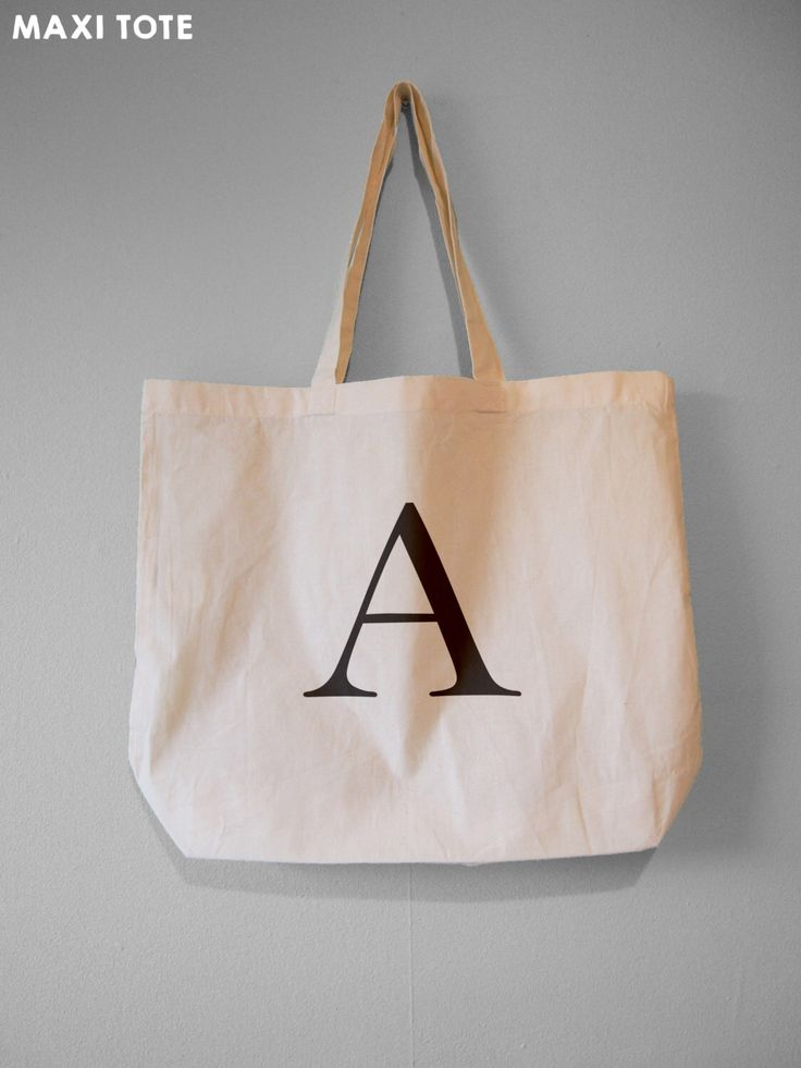 Monogram Tote, Alphabet Bag, Choose Your Letter - Natural Cotton Tote Bag/Maxi Bag/Canvas Tote Bag by BYKI on Etsy https://www.etsy.com/listing/255996047/monogram-tote-alphabet-bag-choose-your
