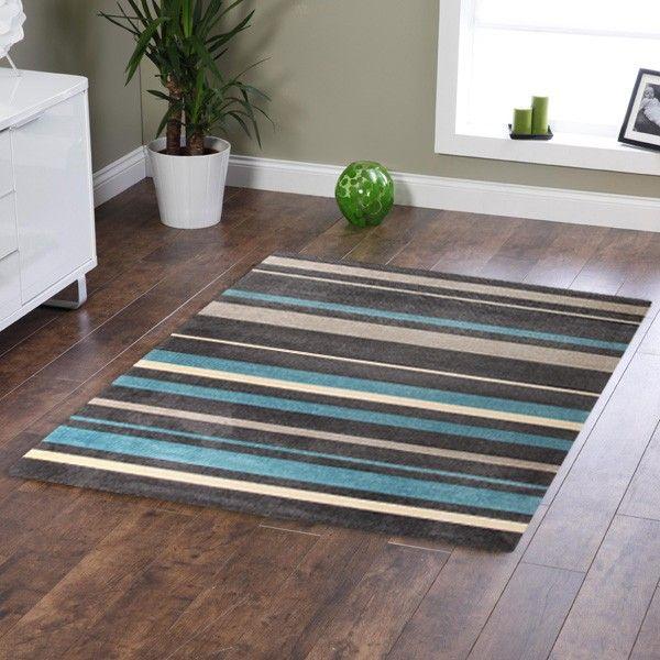 Stylish stripe rug charcoal blue