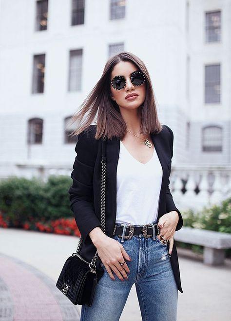 3c646066a64e5 looks com blazer preto. 10 looks com blazer. como usar blazer. blazer  branco feminino. look trabalho. dica de moda. moda feminina. moda para  mulheres.