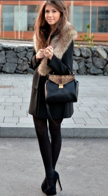 Fur Trim, Black Tights, With A Touch Of Animal Print