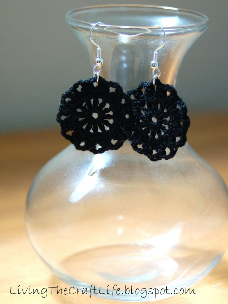Round Earrings - Free Crochet Pattern from Living the Craft LIfe