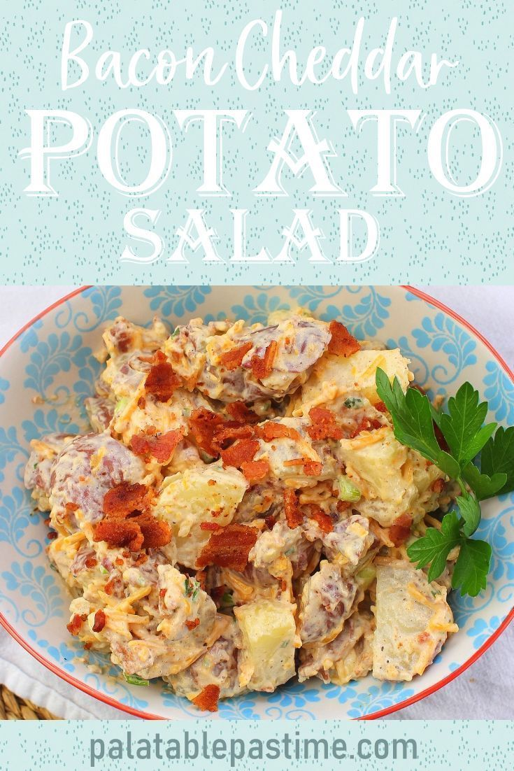 Fully Loaded Potato Salad With Bacon Cheddar Sour Cream And Chives Is A Perfect Side For Sandwiches And Ca Bacon Cheddar Bacon Cheddar Potatoes Potatoes
