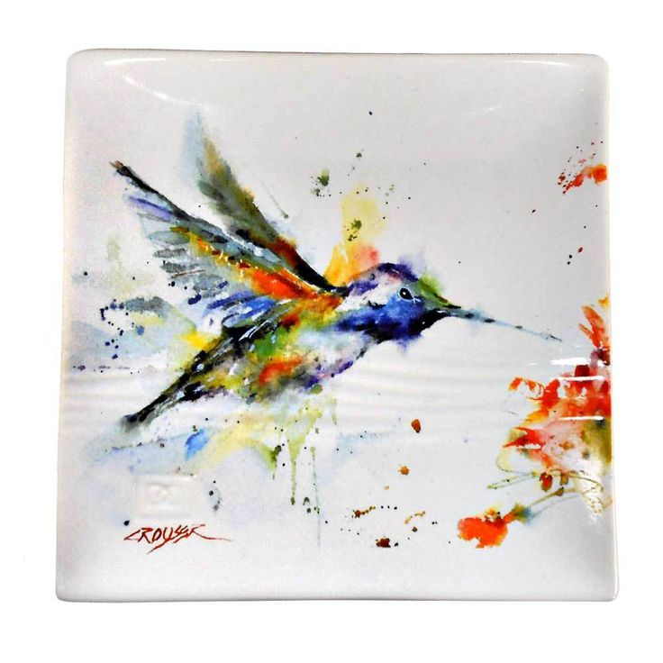 FAVORITE HUMMINGBIRD PAINTING!!! Dean Crouser Humming Bird Snack Plate by Big Sky Carvers - Montana Gift Corral