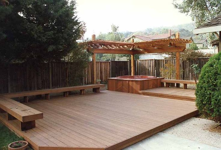 two level deck and trellis with benches san mateo 94401