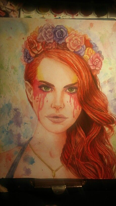 Watercolor painting on canvas. I loved to do this :) Lana Del Rey - so beautiful woman LauraT
