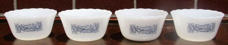 4 Royal Currier & Ives Mar-Crest Ovenware Milk Glass Custard Dessert Cups NEW #RoyalChinaCo 20 of these.