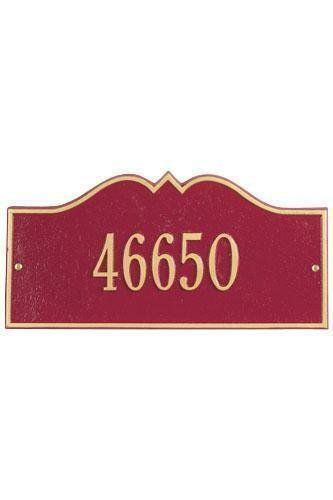 Hillsboro One-Line Estate Wall Address Plaque - estate/one line, Red by Home Decorators Collection. $215.00. Hillsboro One-Line Estate Wall Address Plaque - It's Your Own Little Corner Of The World - So Why Not Mark It With Pride? A House Sign Announces A Message Of Distinction. These Premium, Textured And Dimensional Address Plaques Are Designed With Large Letters And Numbers For Maximum Visibility. Choose From Our Exceptional Array Of Custom Address Plaques To Fi...
