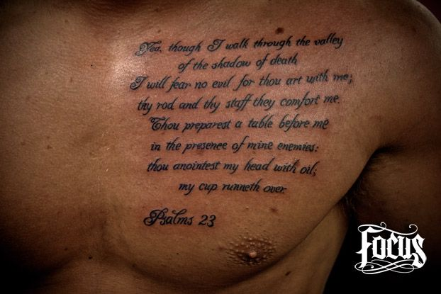 Lettering Tattoo On Chest For Men photo - 3
