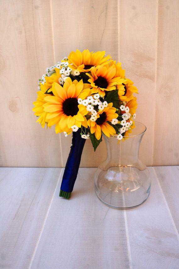 choose ribbon color sunflower babys breath bridal bridesmaid bouquet sunflower bouquet babys breath bouquet sunflower wedding